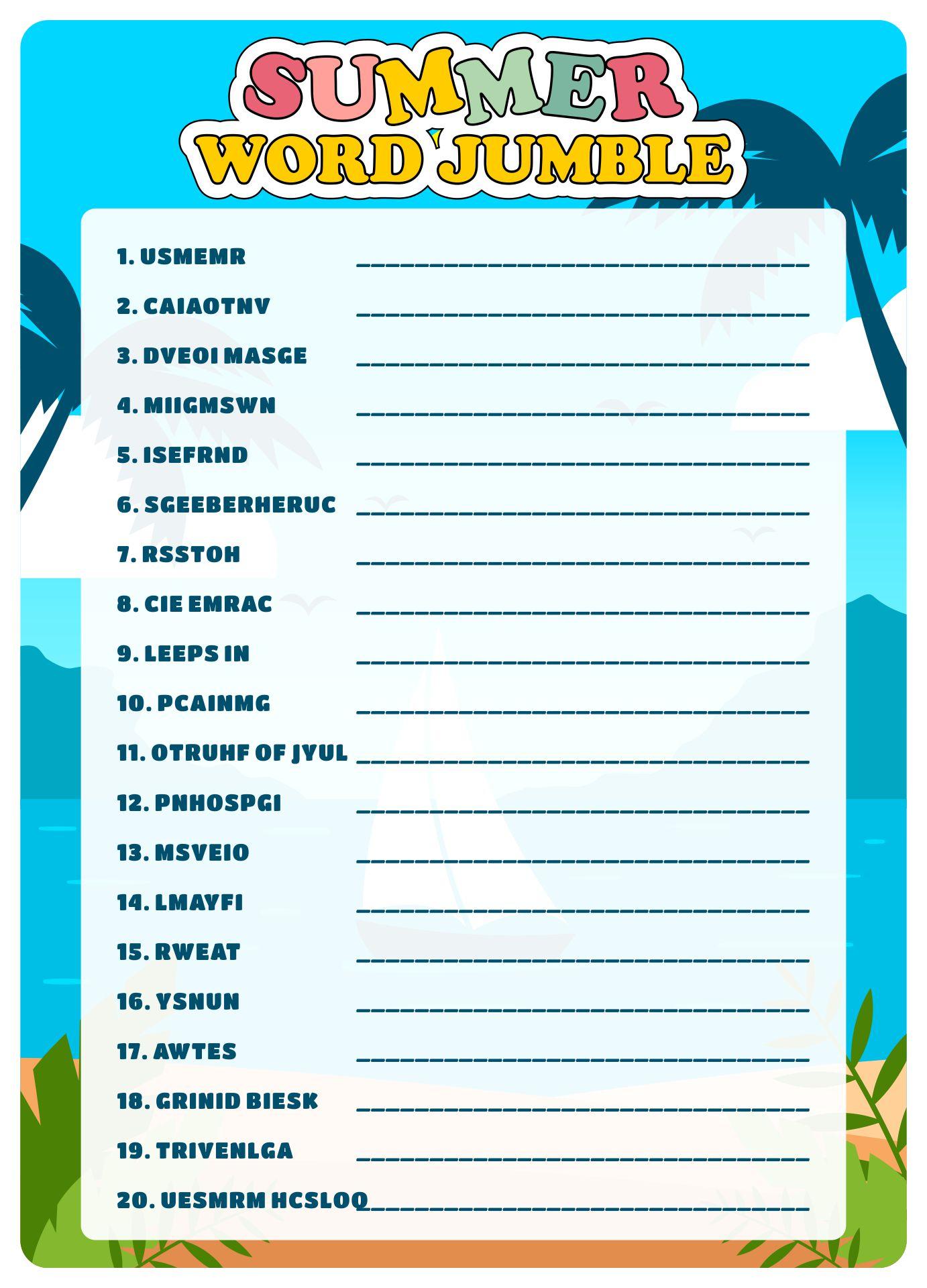 Word Jumble Puzzles Printable