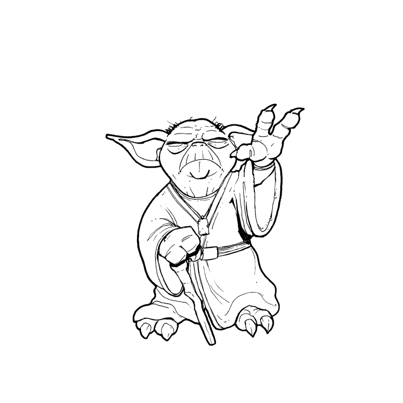 6 best images of yoda black and white printable