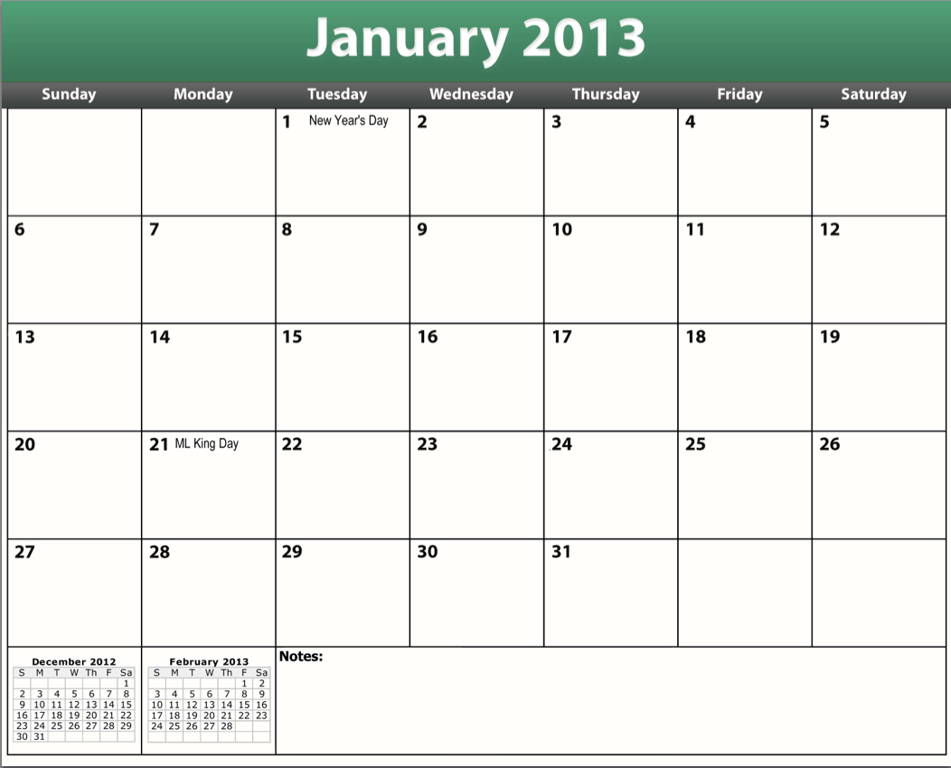 5 Images of Free Printable 2013 Calendar Templates