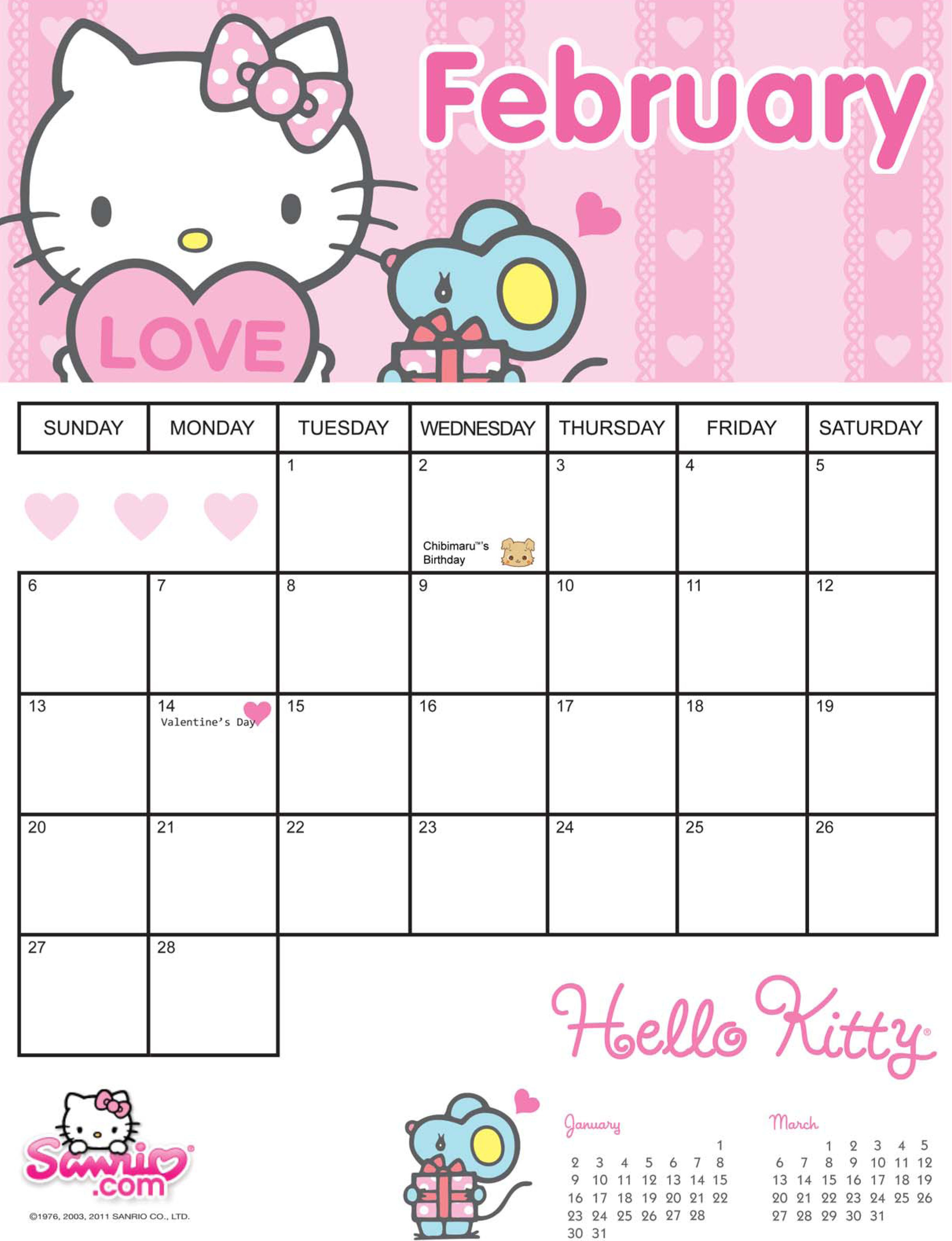 7 Images of Sanrio Printable Calendar Blank