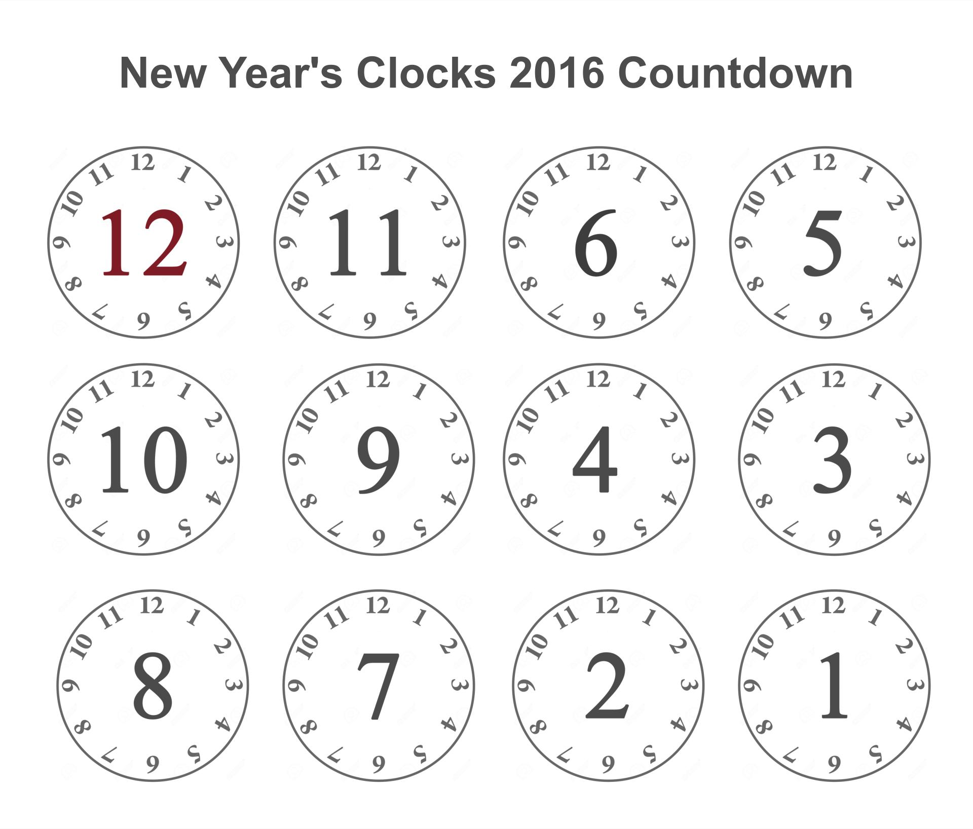 2016 Printable New Years Eve Clocks