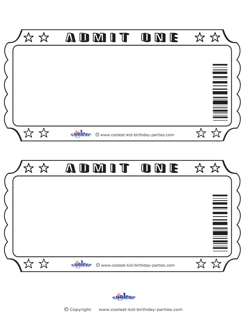 6 Images of Free Printable Admit One Invitations