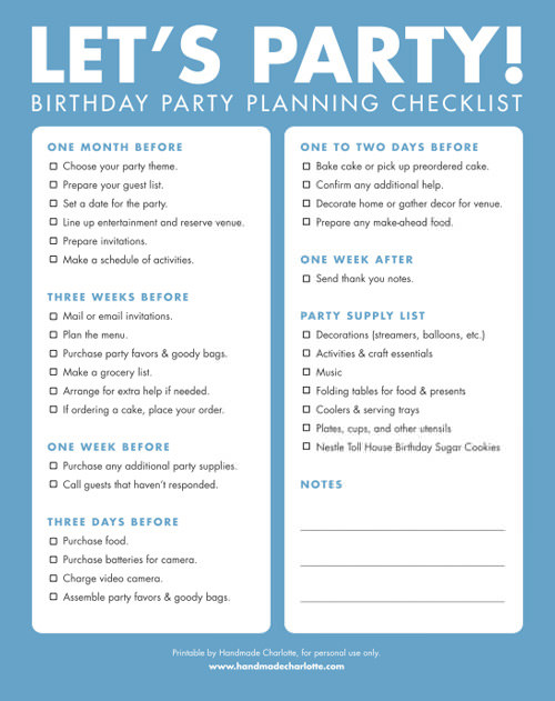 8 Images of Party Planner Checklist Printable