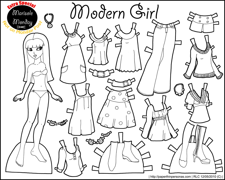 Бумажная кукла с одеждой раскраска для вырезания