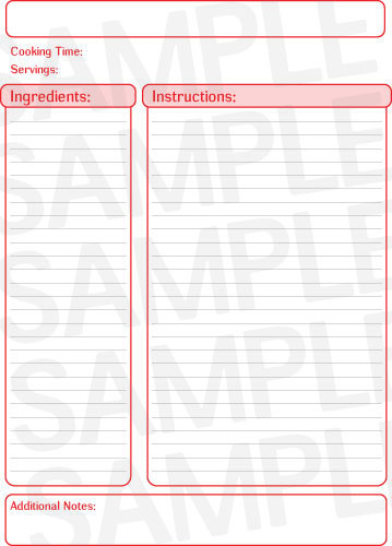 10 best images of printable recipe page template free printable full page recipe card template. Black Bedroom Furniture Sets. Home Design Ideas