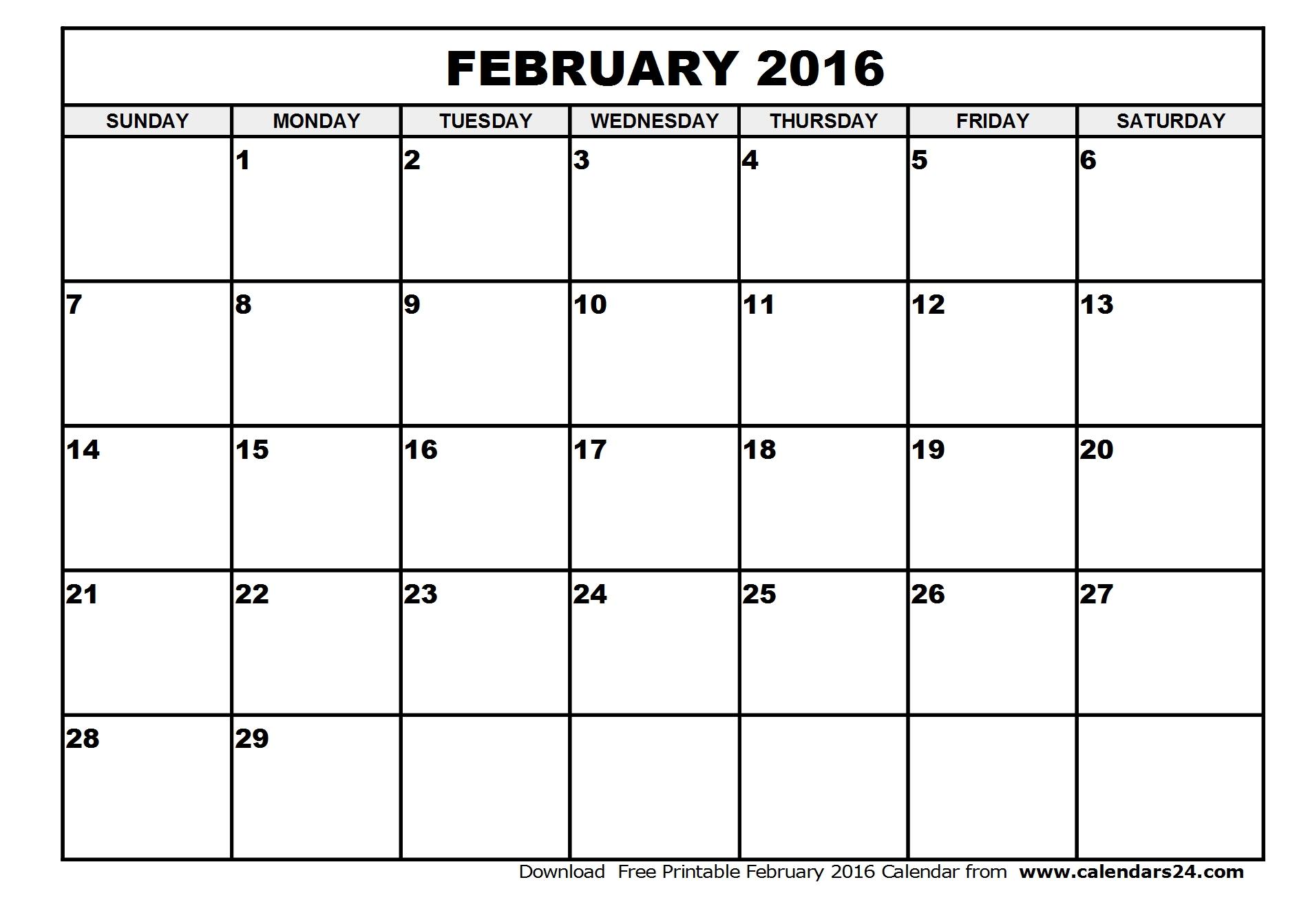 8 Images of February 2016 Printable Calendar Planner