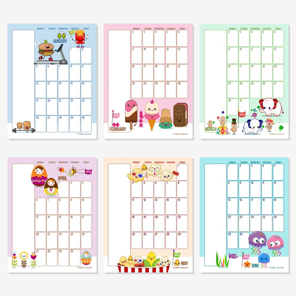 2015 - Editable Monthly Calendar 2015 Printable, Free Editable Monthly ...