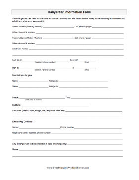 4 Images of Free Printable Babysitting Forms
