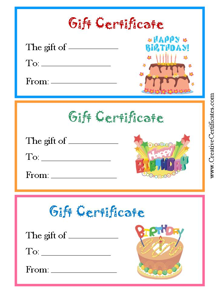 5 best images of free birthday printable gift certificates for Birthday gift certificate template