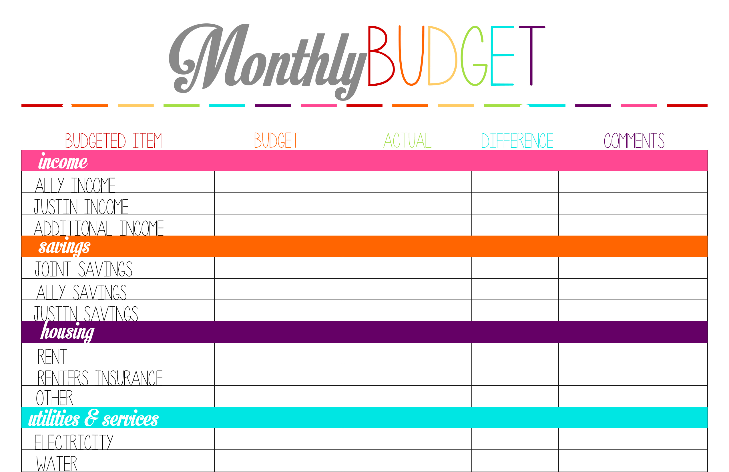 Free Printable Budget Worksheet Template, Printable Blank Worksheet ...