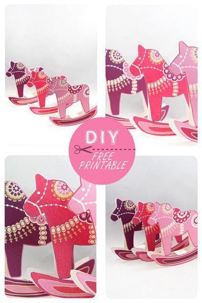 5 Images of Free Printable Dala Horses