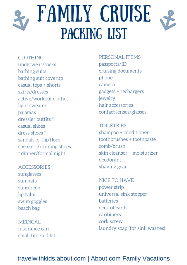 7 Best Images Of Disney Cruise Packing List Printable