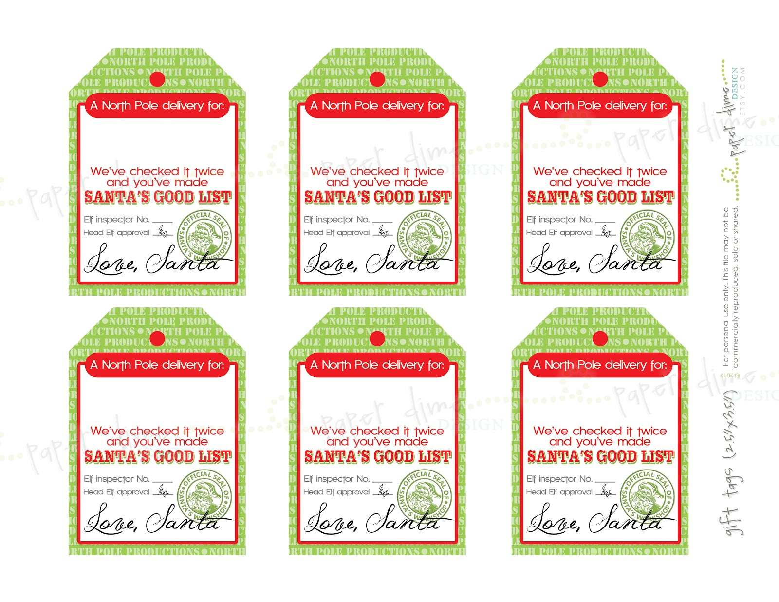 Gift Tags From Santa 9 best images of printable santa gift tags signed ...