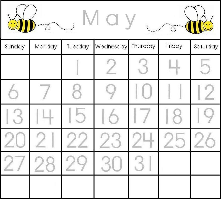 6 Images of Printable Preschool Calendars By Month
