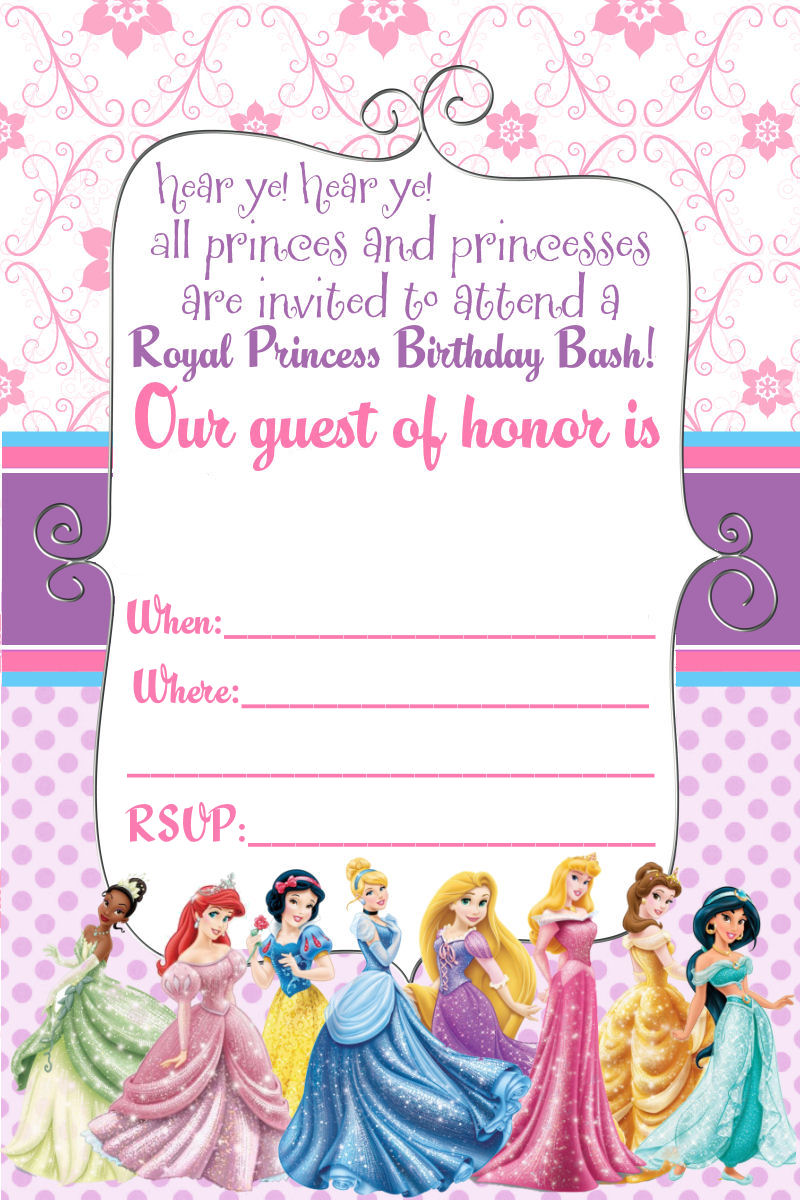 4 Images of Disney Princess Printable Party Invitations
