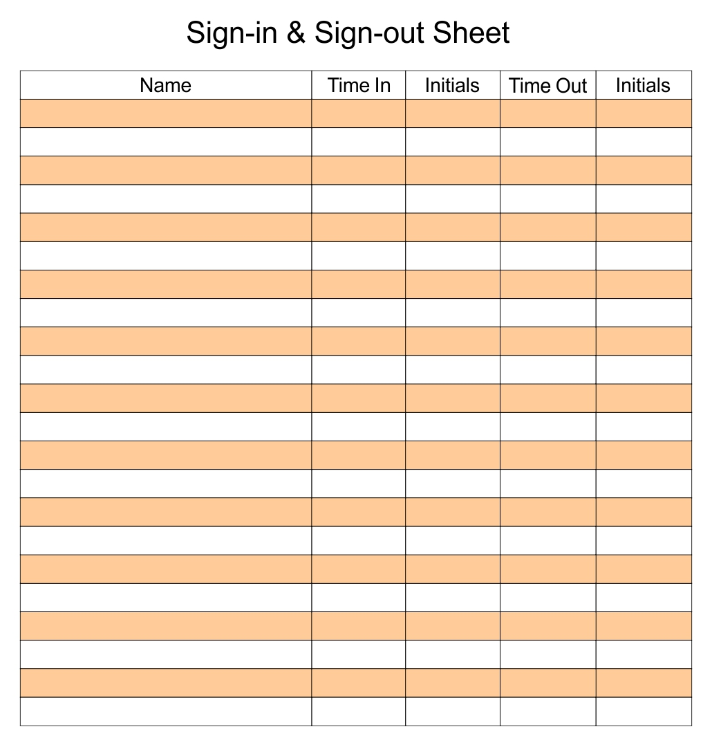 Sign Out Sheet Template Printable