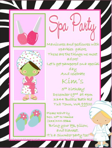 7 Images of Spa Party Invitations Printable