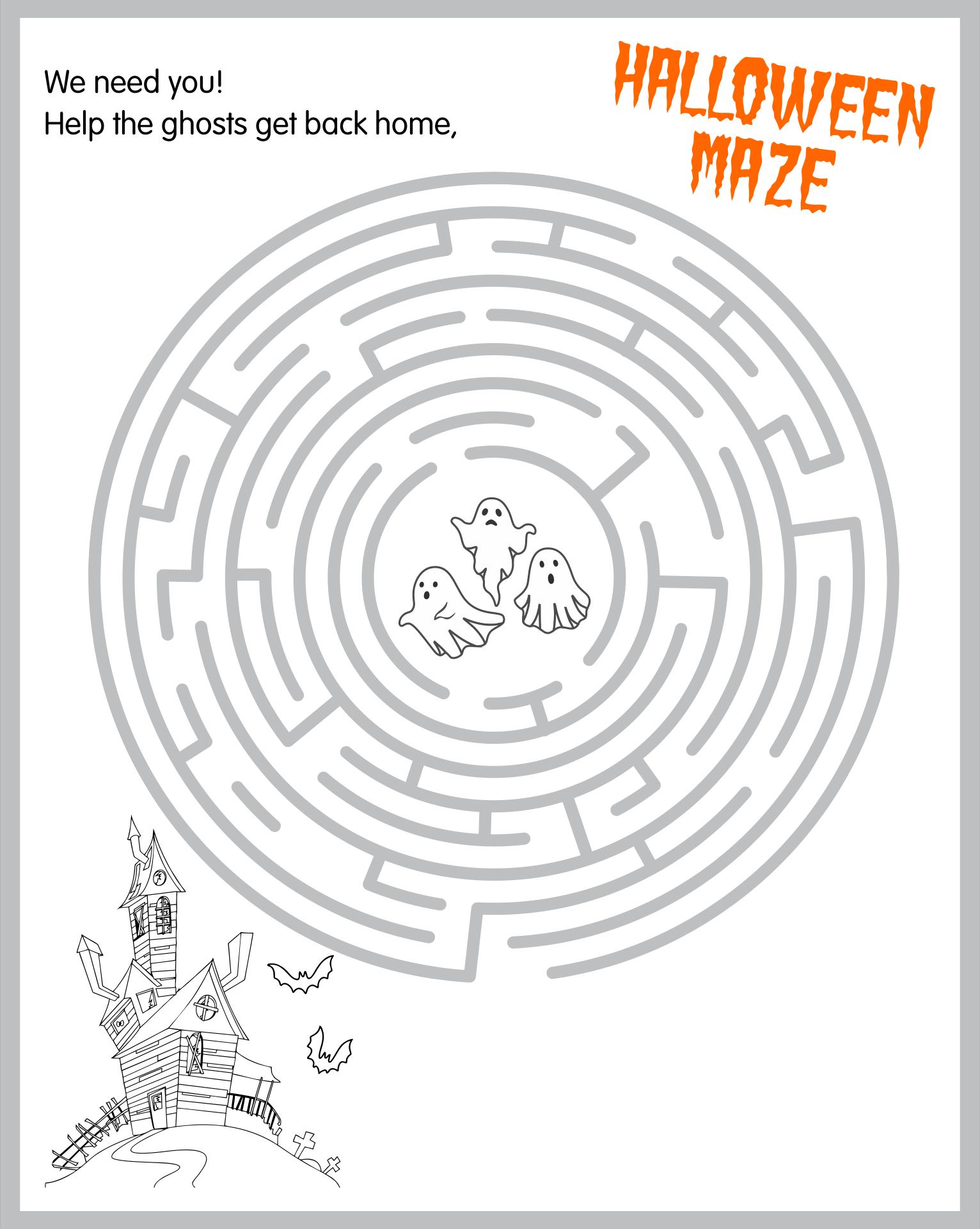 Halloween Printable Maze Worksheets