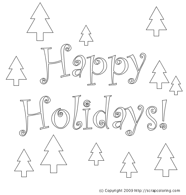 6 Images of Happy Holidays Coloring Pages Printable