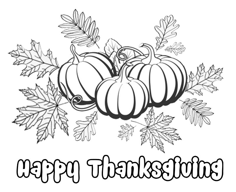 Happy Thanksgiving coloring page with pumpkin and fall leaves for kids activity