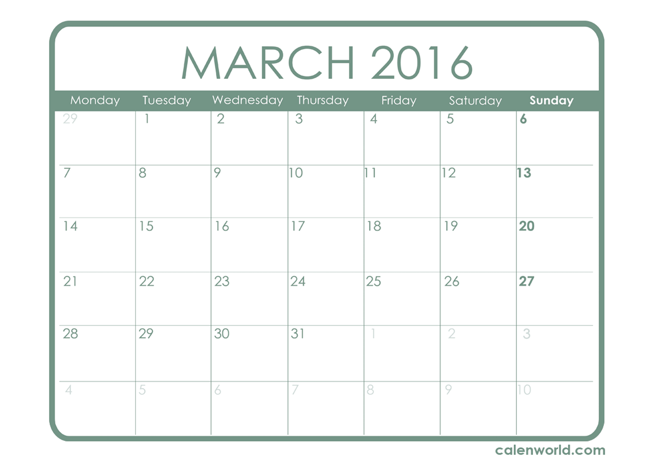 5 Images of 12 Month Printable Calendar March 2016