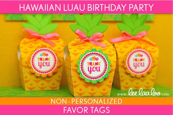 5 Images of Luau Printable Birthday Tags