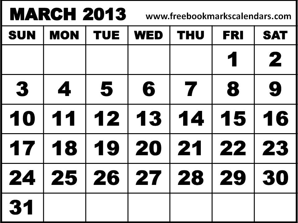 5 Images of Mar 2013 Calendar Printable