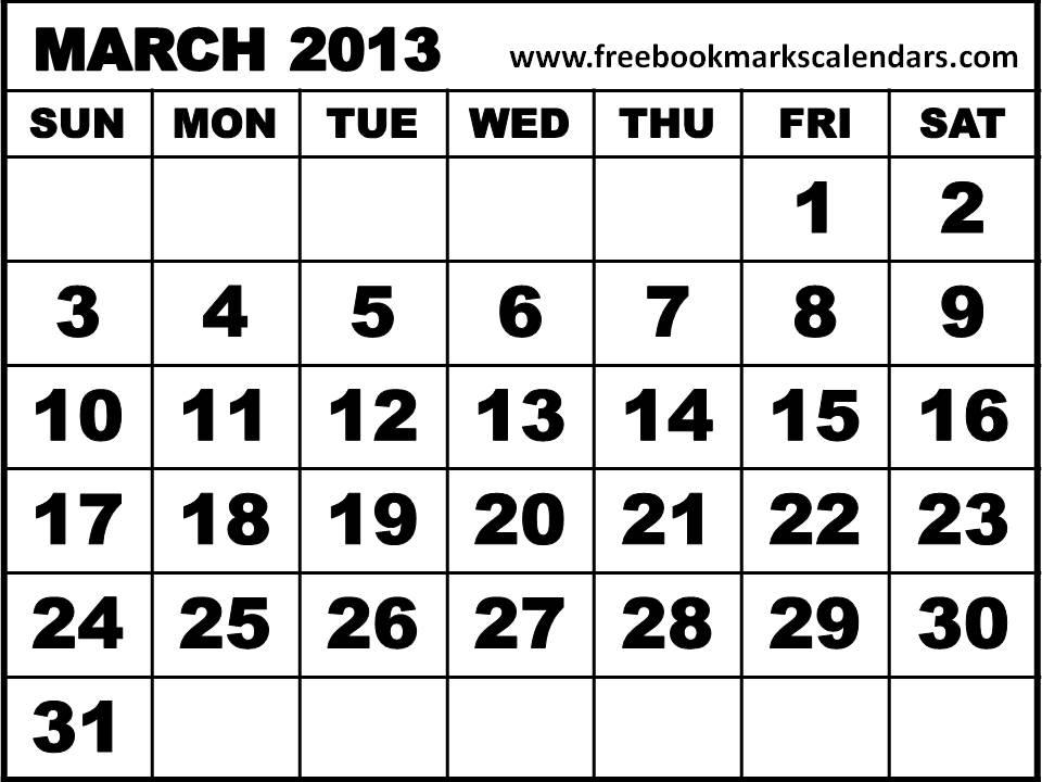 5 Images of Mar 2013 Calendar Printable