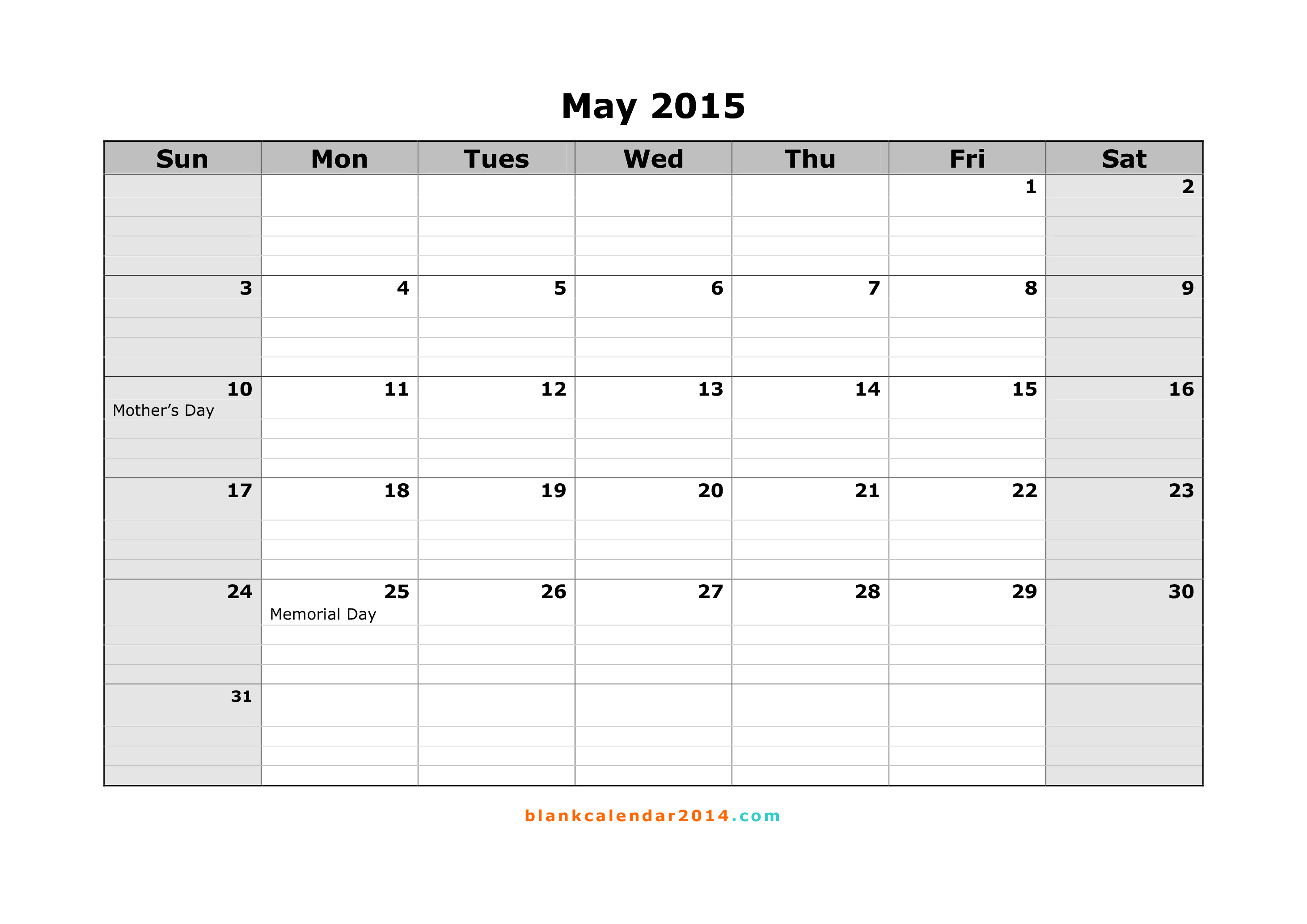 8 Images of May 2015 Calendar Printable Free Templates