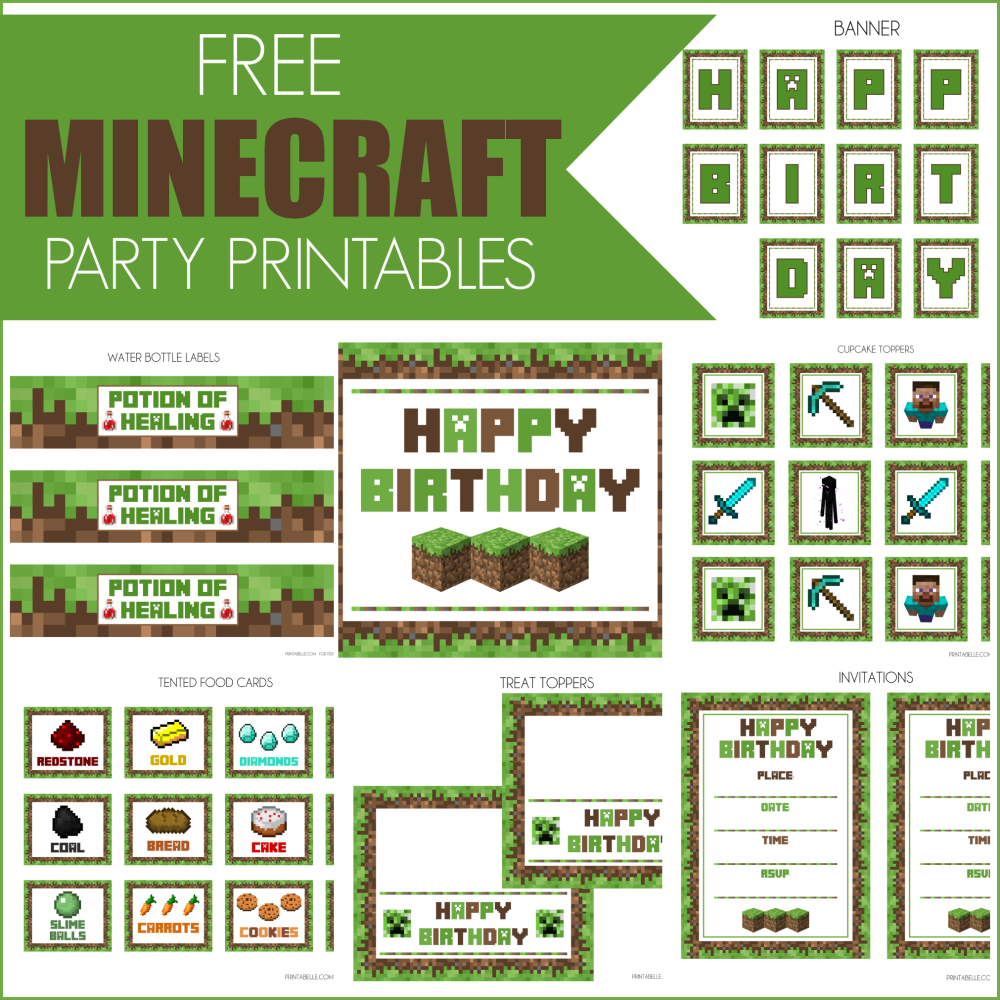 9 Images of Minecraft Party Printable Templates