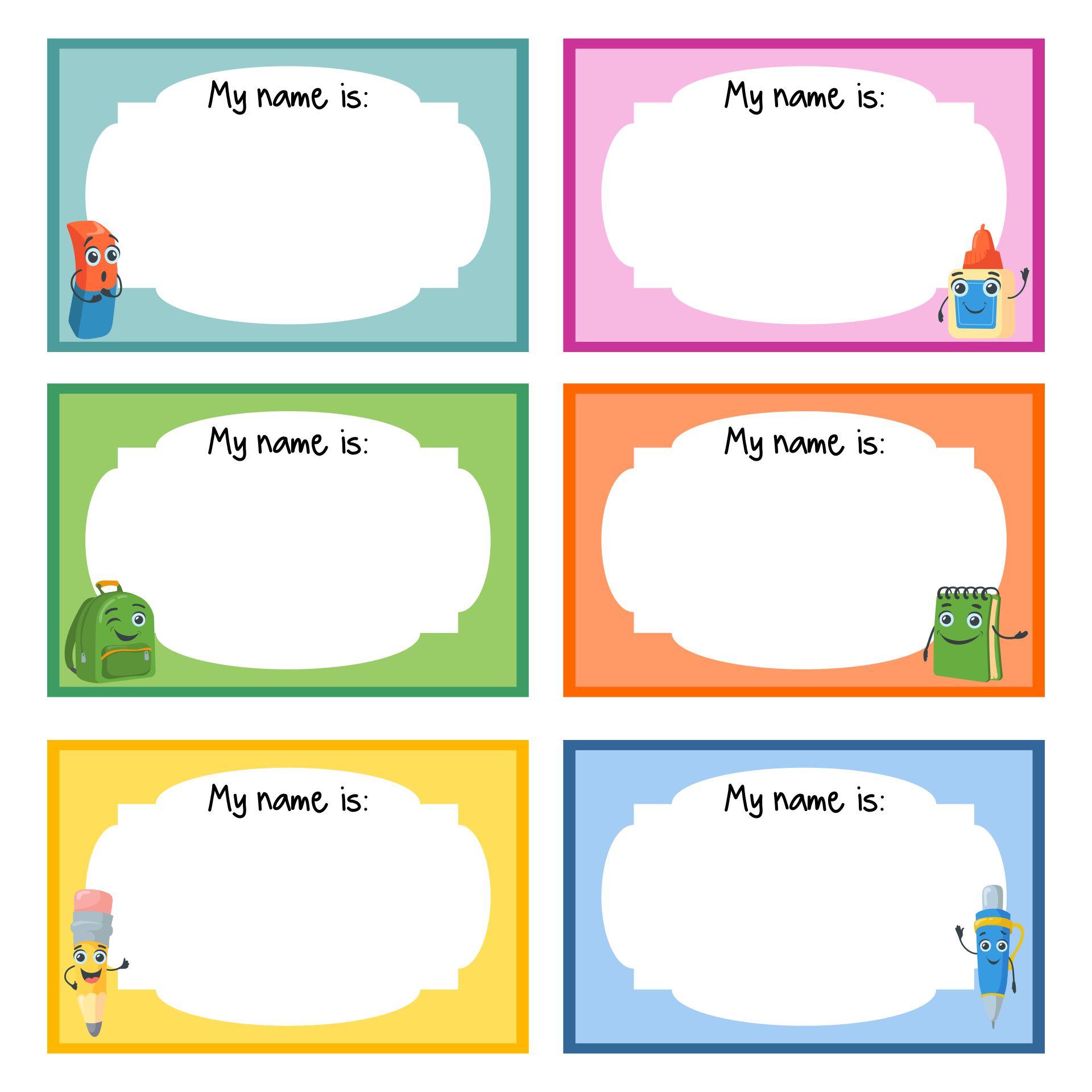 Name Tag Templates Printable for Kids