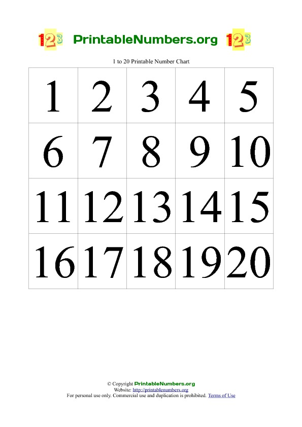 8 Images of Printable Number Chart To 20