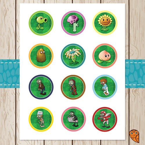 Plants vs.Zombies Cupcake Toppers Printable Free