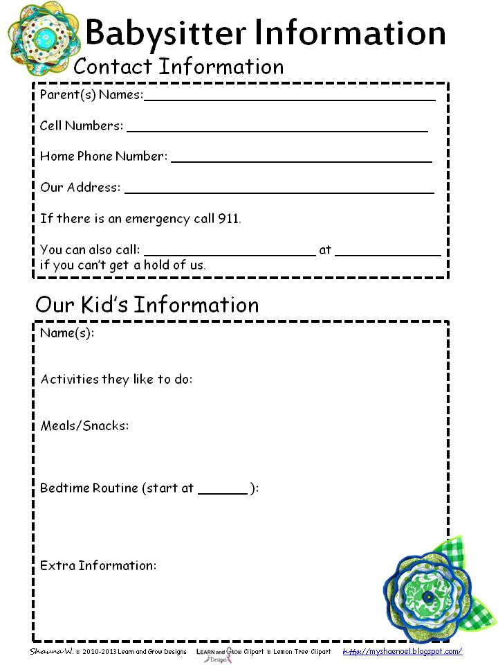 4 Images of Printable Babysitter Information Sheet Care