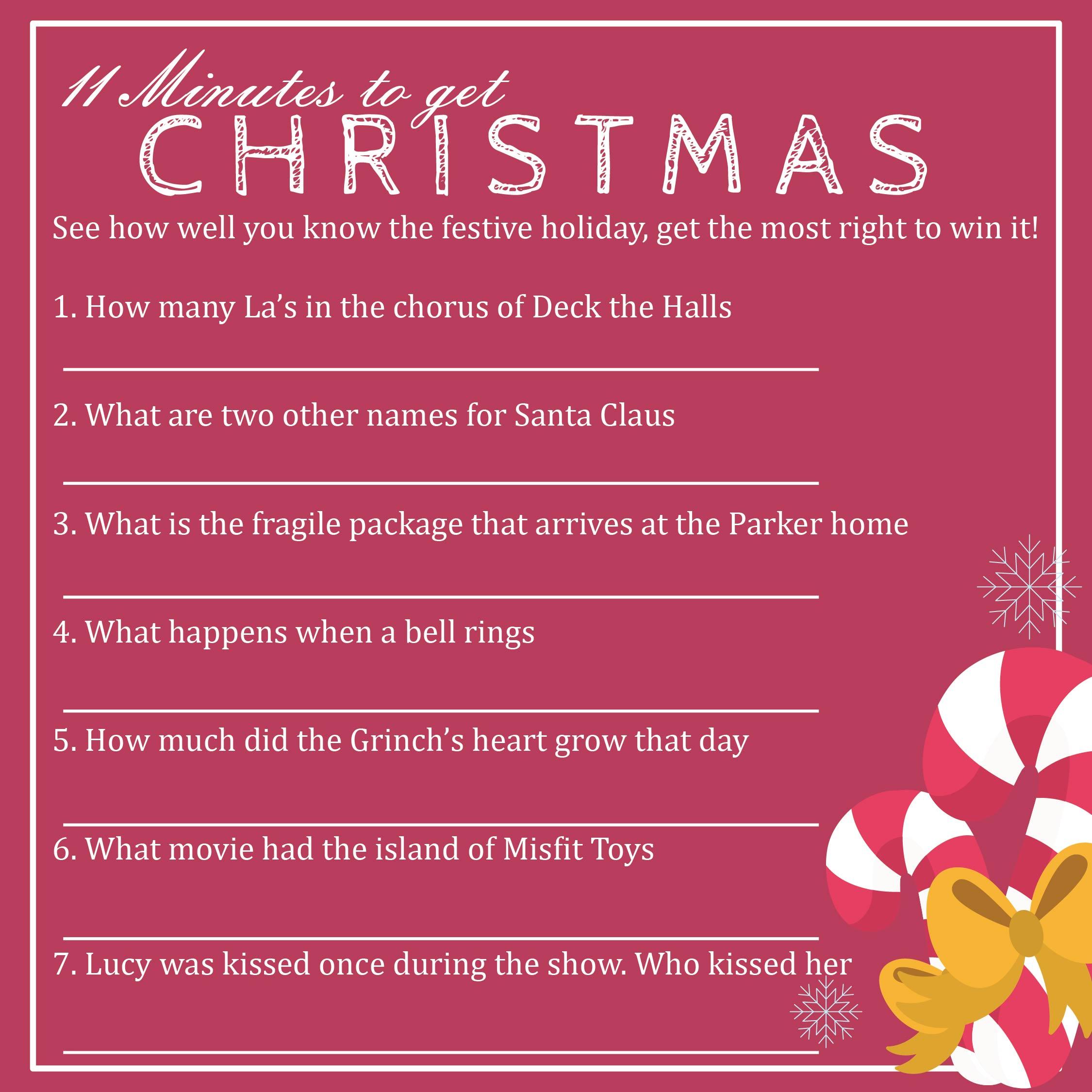 Printable Christmas Trivia Cards