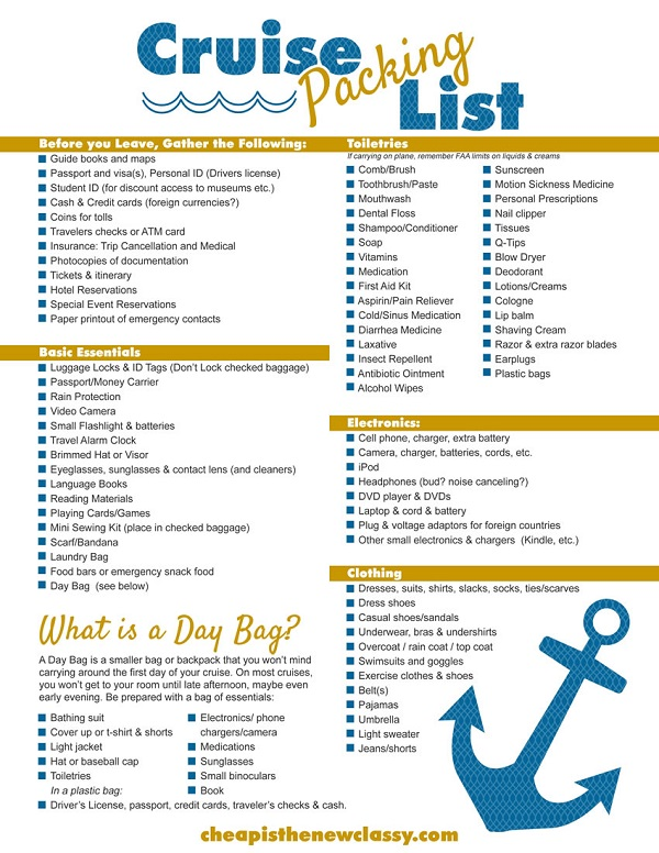 7 Images of Disney Cruise Packing List Printable