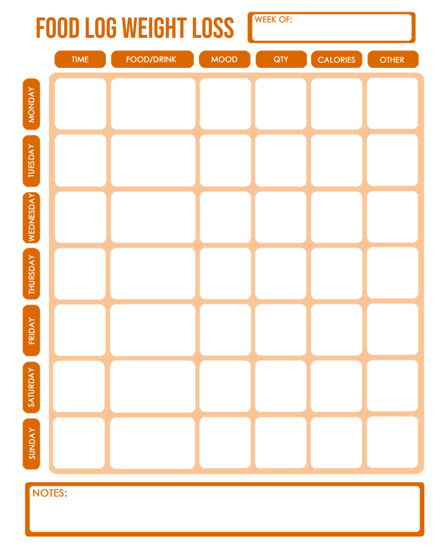 Printable Food Log Weight Loss