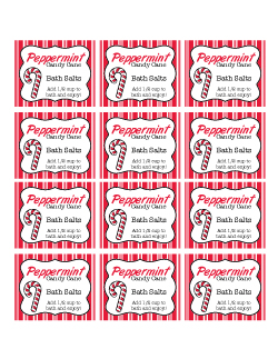 7 Images of Printable Candy Cane Peppermint Bath Salts Label