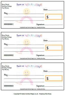 Printable Pretend Checks for Kids