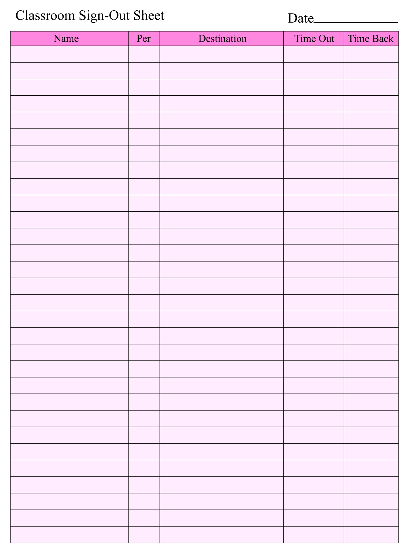 Printable Sign Out Sheet Template