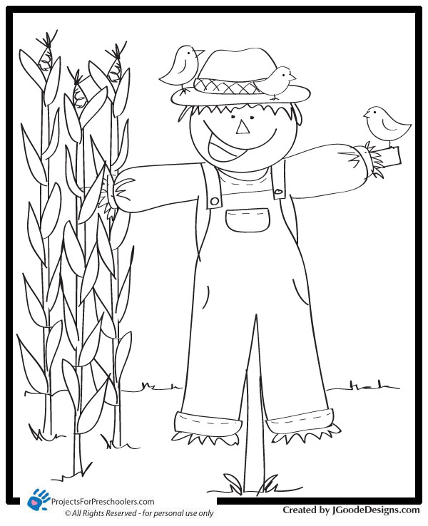 4 best images of free printable scarecrow worksheets for Printable scarecrow coloring pages