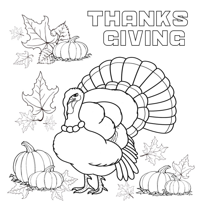 Thanksgiving coloring page with turkey and pumpkin character for kindergarten kids