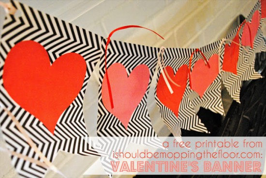 9 Images of Valentine Free Printable Pennant Banner Template