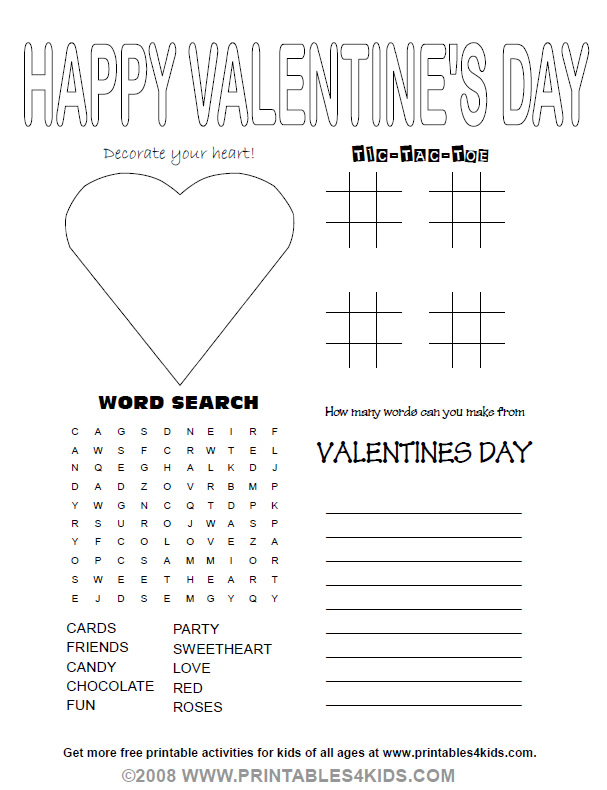 6 Images of Valentine's Day Printable Activities