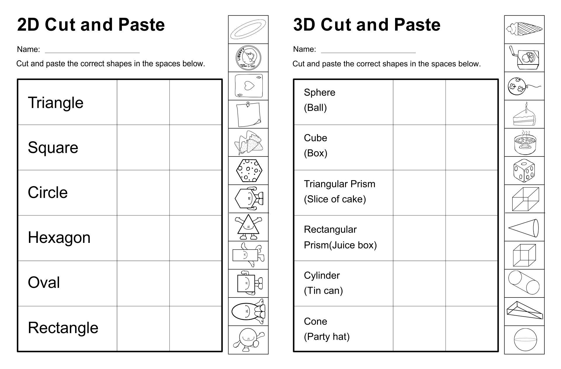 2D and 3D Shapes Kindergarten
