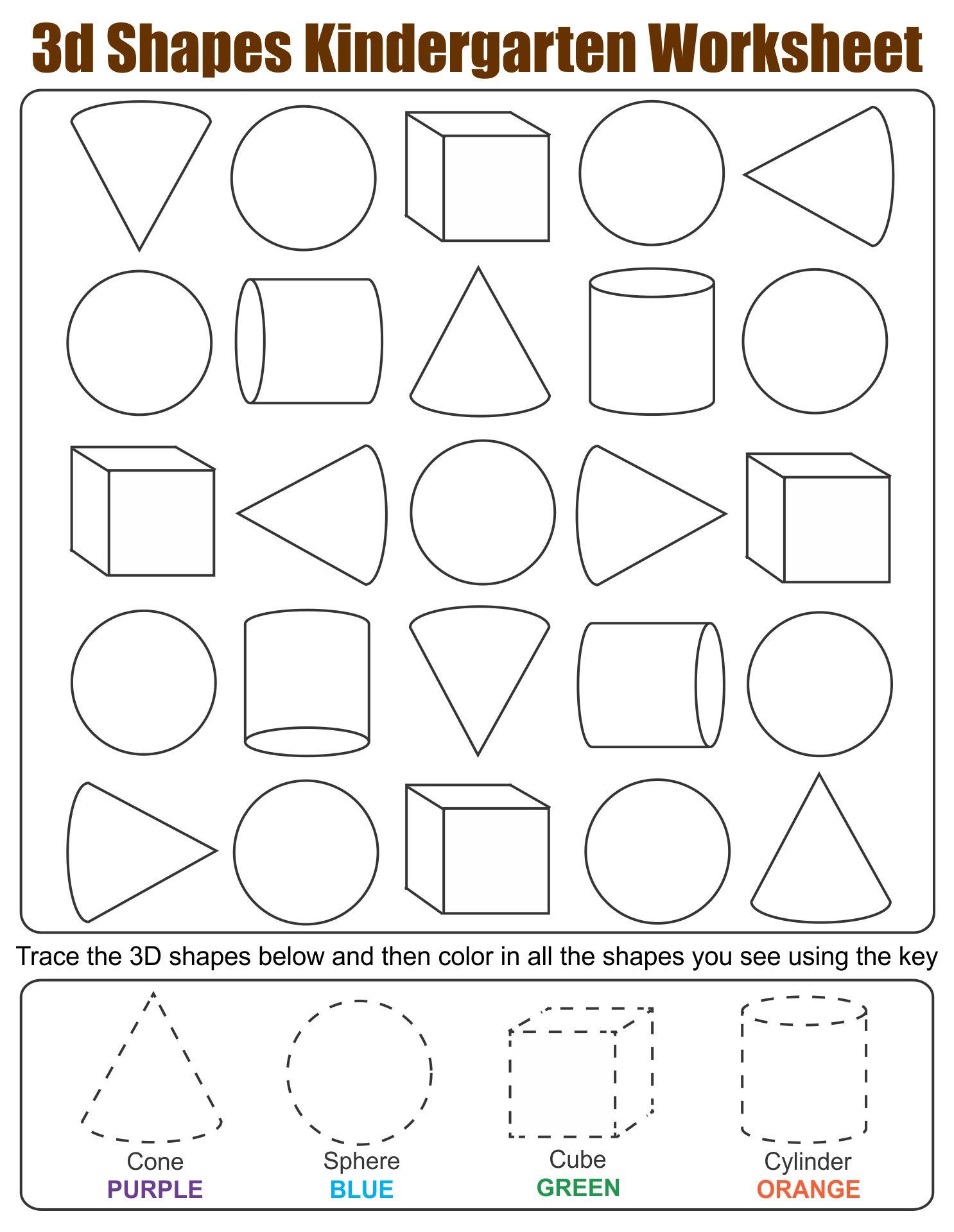 4 Images of 3D Shapes Worksheets Printables Kindergarten