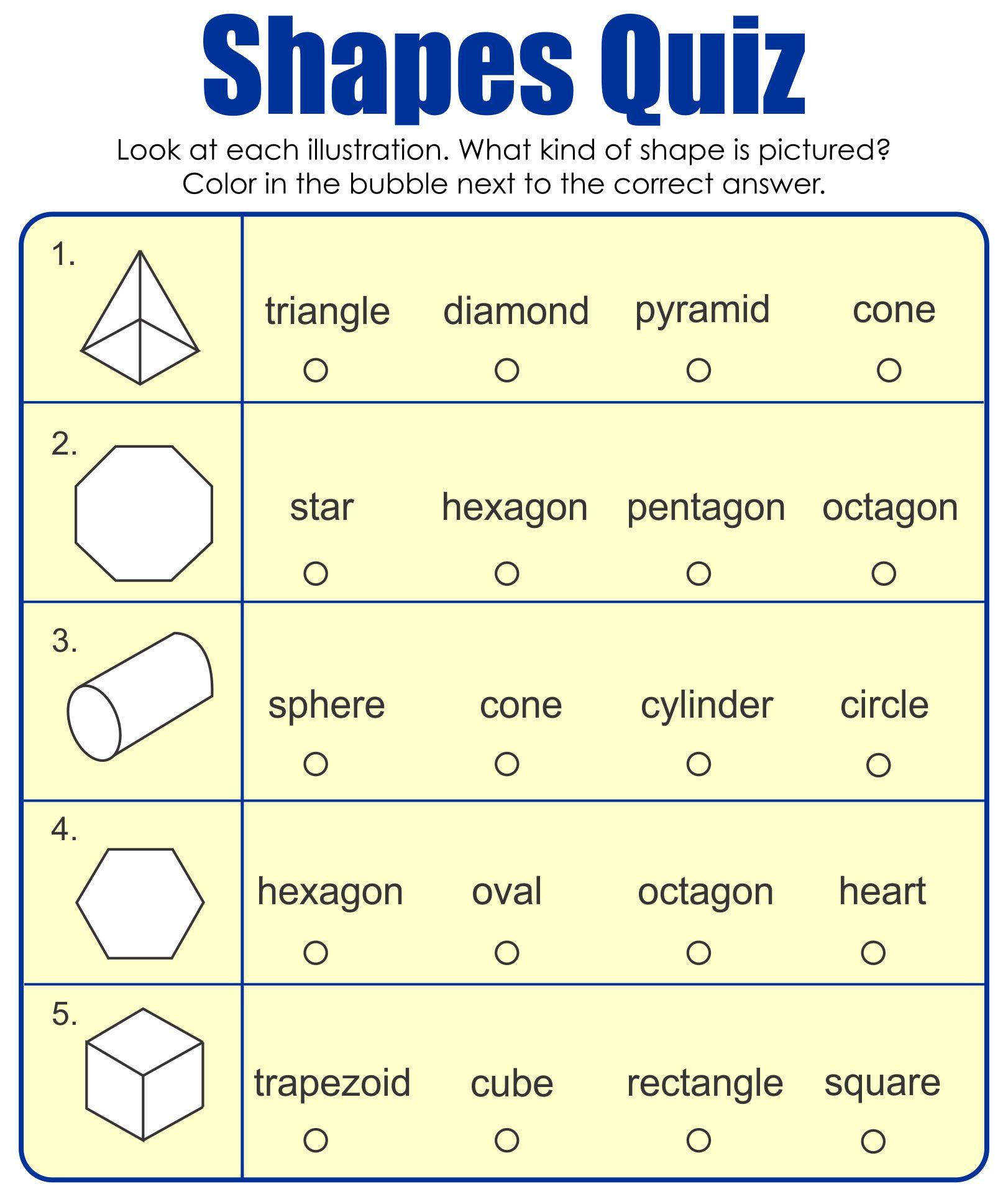 3D Shapes Kindergarten Worksheet