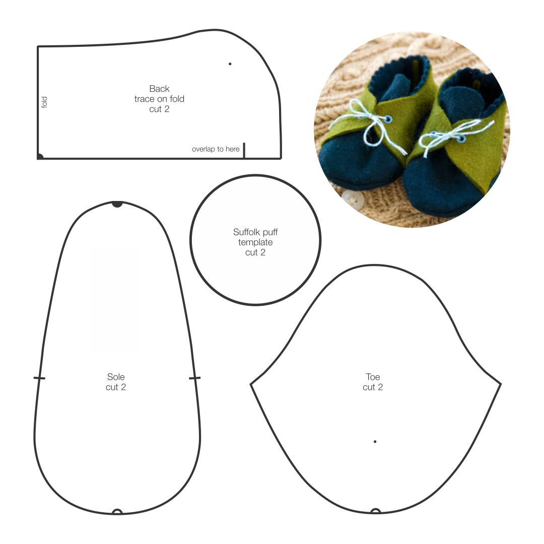 6 Images of Printable Template Baby Booties