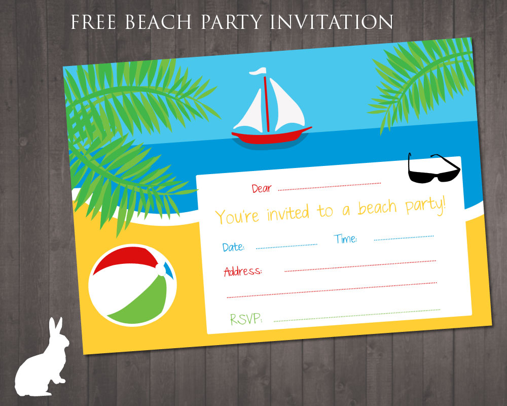Invitation Templates, Beach Birthday Party Invitations Printable Free ...