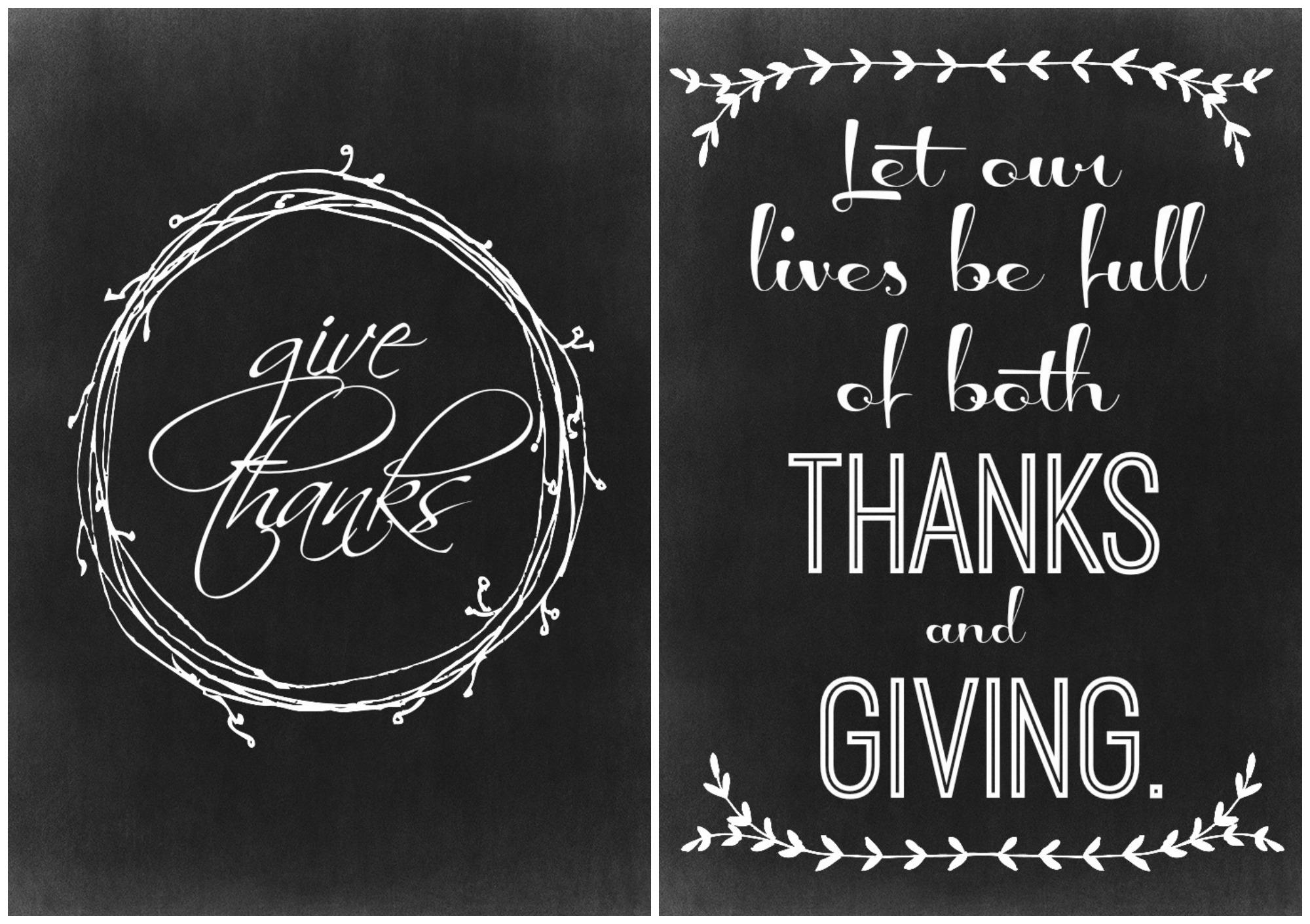 Chalkboard Thanksgiving Free Printables